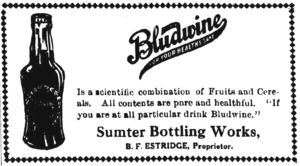 Bludwine - Newspaper ad for the product from 1916. Shows the bottle.