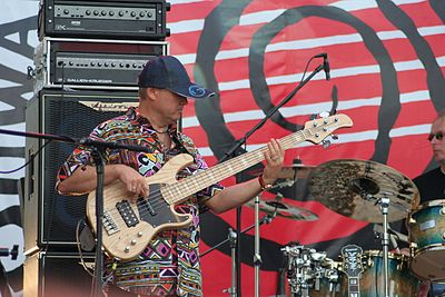 "An electric bass player performing with a large stack of Ashdown 4x10"" speakers and two Gallien-Krueger 800RB amp heads. Blues Festival Suwalki 2009 - The Road Band 10.jpg"