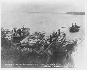 Fort Smith, Northwest Territories - Boats landing at Mountain Portage on the Slave River circa 1900