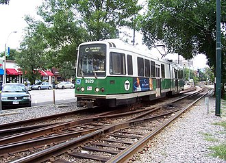 "Green Line ""C"" Branch - Now-discontinued Boeing US Standard Light Rail Vehicle near St. Marys Street in 2005"