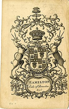 Bookplate showing an early Coat of Arms for the Duke of Hamilton and Brandon