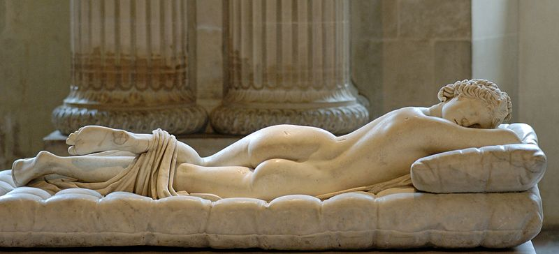 Sleeping Hermaphroditus. Hermaphroditus: Greek marble, Roman copy of the 2nd century CE after a Hellenistic original of the 2nd century BC, restored in 1619 by David Larique; mattress: Carrara marble, made by Gianlorenzo Bernini in 1619 on Cardinal Borghese's request. Borghese Collection, Louvre.