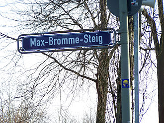 Max Bromme - Street sign at the Max-Bromme-Steig beneath the Bornheimer Hang in Frankfurt am Main-Bornheim