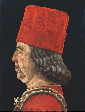 Borso d'Este, Duke of Ferrara - Borso d'Este, attributed to Vicino da Ferrara, Pinacoteca of the Sforza Castle in Milan, Italy.