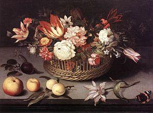 Johannes Bosschaert - Basket of Flowers, oil on panel, 1627, is the latest work extant by Johannes Bosschaert