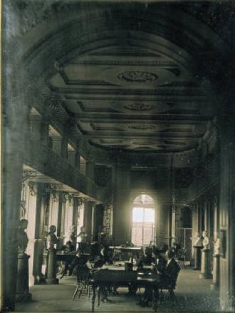 Boston Athenæum - Interior of the Athenæum, 10½ Beacon Street, c. 1855 (Southworth & Hawes)