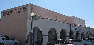 Boulder City, Nevada - Boulder Theatre in September 2008, now owned by Desi Arnaz, Jr.; it is listed on the National Register of Historic Places.