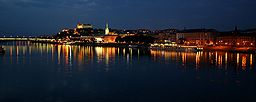 Bratislava's Old Town in the evening, looking from Petržalka.