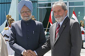 Brazil–India relations - Former Indian Prime Minister Manmohan Singh with former Brazilian president Luiz Inácio Lula da Silva.