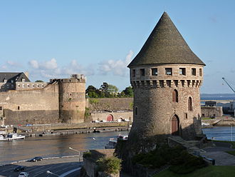 Brest, France - A view of the Tour Tanguy with the Château de Brest in the background.