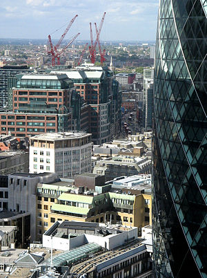 Broadgate - Part of the Broadgate Centre, viewed from the top of the Willis Building in 2006. The cranes for the new Broadgate Tower can be seen in the background.
