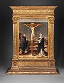 Brooklyn Museum - Christ on the Cross Adored by Saints Thomas Aquinas and Catherine of Siena (Recto) - Lorenzo d'Alessandro da San Severino.jpg