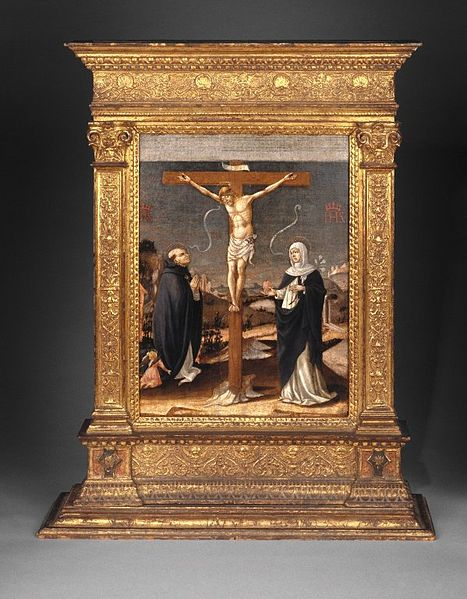 File:Brooklyn Museum - Christ on the Cross Adored by Saints Thomas Aquinas and Catherine of Siena (Recto) - Lorenzo d'Alessandro da San Severino.jpg