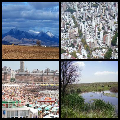 From top, left to right: the Sierra de la Ventana mountain range, La Plata, Mar del Plata and the Pampas.
