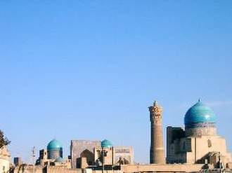 Turquoise (color) - Bibi-Khanym Mosque with turquoise domes in Bukhara, Uzbekistan