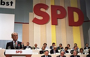 History of the Social Democratic Party of Germany - SPD party convention in 1988, with Nobel prize winner Willy Brandt, chairman from 1964 to 1987