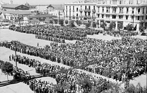 Moshe Ha-Elion - Registration of the Jews of Thessaloniki, July 1942, Eleftherias Square. Bundesarchiv Bild 101I-168-0894-21A