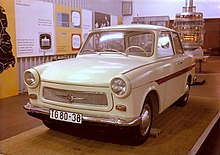 Trabant with brown trim in a museum