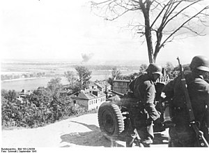 Battle of Kiev (1941) - German artillery overlooking the Dnieper river after the fall of Kiev