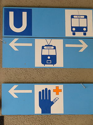 First aid room - Bus, tram and first aid station signs (Germany)