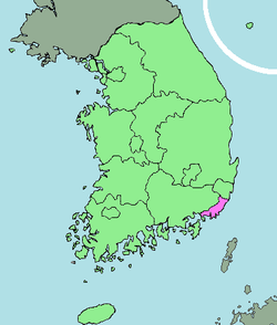 Map of South Korea with Busan highlighted