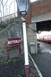 Butterley railway station, Derbyshire, England -lamp and sign-19Jan2014.jpg