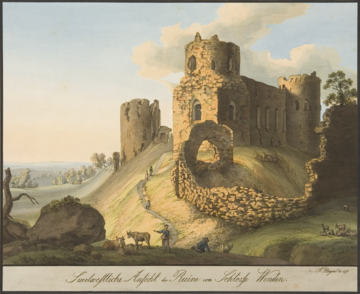Cēsis Castle in early 19th century by A. M. Hagen.png