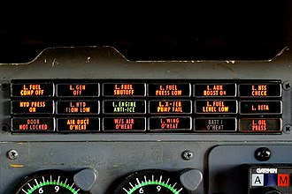 Annunciator panel - Close-up view of the left module of the Cessna 441 annunciator panel in 'test' mode