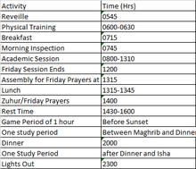 Cadet College Hasan Abdala Schedule