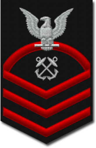 Chief petty officer (United States) - The shoulder sleeve insignia of a U.S. Navy chief Boatswain's Mate, with three red chevrons and one rocker.