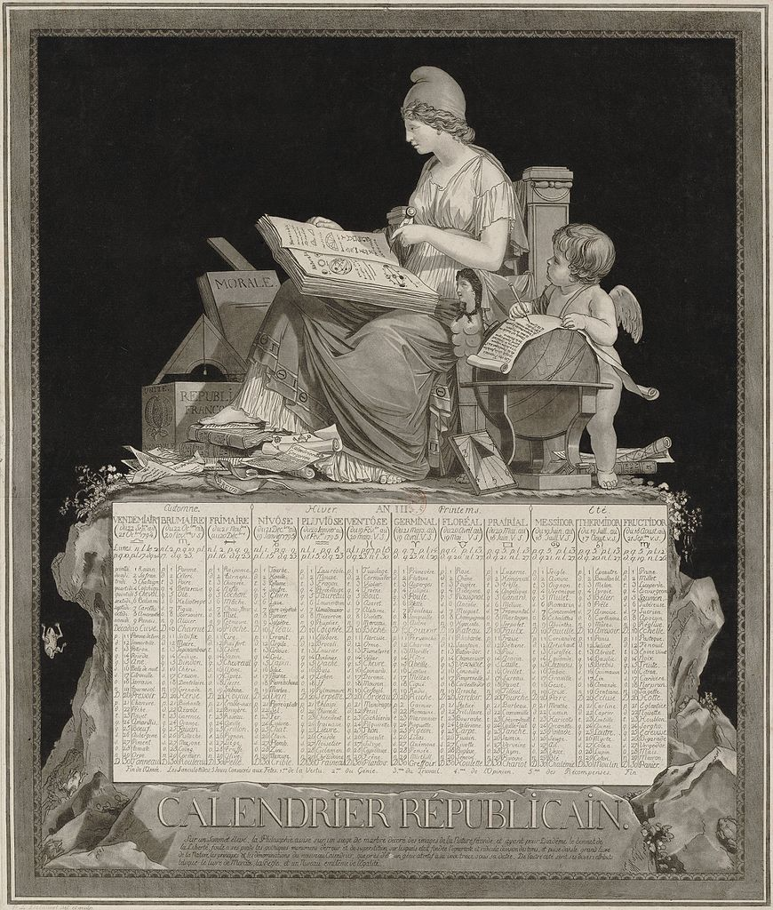 French Republican Calendar of 1794, drawn by Philibert-Louis Debucourt