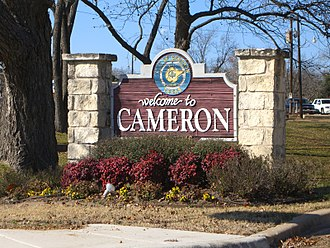 "Cameron, Texas - A ""Welcome to Cameron"" sign."