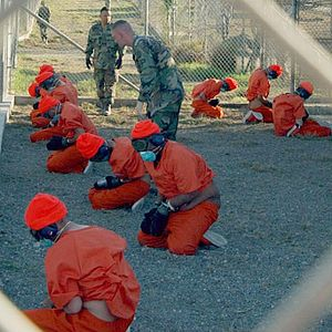 Camp X-Ray (Guantanamo) - Detainees upon arrival at Camp X-Ray, January 2002