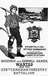 Affiche du Corps forestier canadien montrant un bûcheron, hacher à la main, et le logo du Corps.