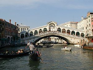 The Amazing Race 4 - The Rialto Bridge in Venice was the site of this leg's Fast Forward, where one team would join the street theater known as Commedia dell'arte.