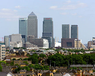 London Borough of Tower Hamlets - Canary Wharf, seen from a high-level walkway on Tower Bridge