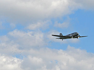 """Raisin Bombers - Gail Halvorsen in a Douglas C-47 Skytrain does a """"Candy Drop"""" over Tempelhof Airport in honour of the 60th anniversary of the end of the Berlin Blockade, 2009"""