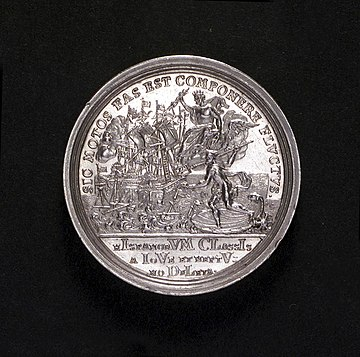 Medal commemorating the Battle made in 1718 - The Spanish fleet destroyed by Jupiter and Neptune The gods are symbolic of the Emperor (Charles VI) and the King (George I) Cape Passaro medal1718.jpg