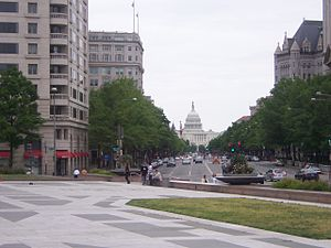 Pennsylvania Avenue National Historic Site - Image: Capital from 14 and penn