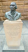 Bronze bust of Arthur Phillip, first Governor of NSW, by Jean Hill, outside the Museum of Sydney