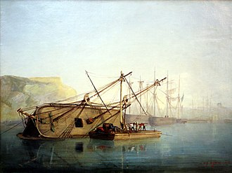 Auguste Aiguier - Hull repairs on a sail ship. Oil on canvas, 1846. Now at the Marseille naval museum.