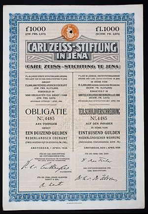 Carl-Zeiss-Stiftung - Bond of the Carl Zeiss-Stiftung, issued 1. April 1926