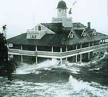 Edgewood Yacht Club in Rhode Island is flooded by the storm surge up to its first floor.