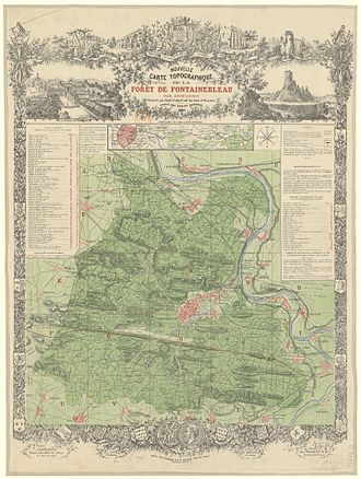 Forest of Fontainebleau - Old topographic map of the Forest of Fontainebleau, 1895
