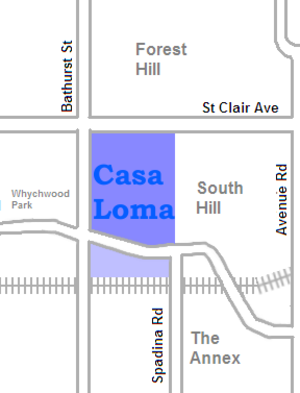 Casa Loma (neighbourhood) - Image: Casa Loma map
