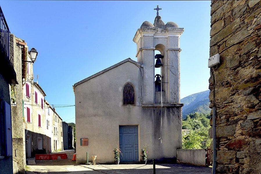 Casanova (Haute-Corse) - Chapelle de type roman, à chevet semi-circulaire, pouvant dater du XVe siècle, elle est devenue l'église Santa Maria delle Nevi. Restaurée en 1830, elle reçut le nom de Notre-Dame des Neiges en 1847. La légende veut que cette appellation lui fut donnée à la suite d'une tempête de neige qui s'abattit sur la région le 5 août.  Camera location  42°15′16.84″N, 9°10′42.92″E  View this and other nearby images on: OpenStreetMap - Google Earth    42.254679;    9.178590