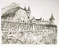 Castle in Swiss Aigle etching 25x31cm'85.JPG