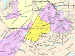 Census Bureau map of Mine Hill Township, New Jersey