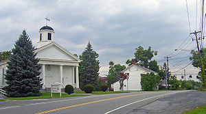 Church and other buildings at the historic center of Scotchtown, at Scotchtown Road and Goshen Turnpike