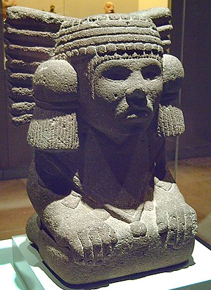 Chalchiuhtlicue - Stone sculpture of Chalchiuhtlicue (Museum of the Americas, Madrid, Spain)